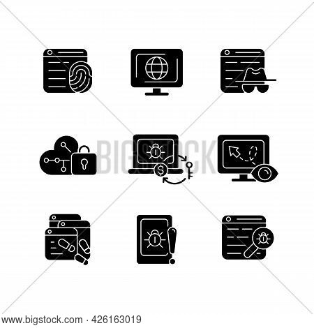 Online Behavior Monitoring Black Glyph Icons Set On White Space. Digital Footprints. Cyberspace. Pri