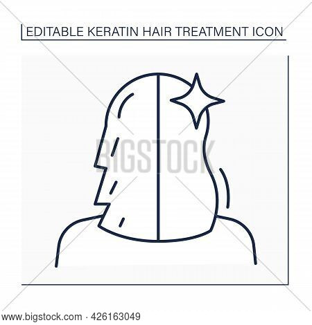 Hair Treatment Line Icon. Keratin Cure Result. Hair Before And After. Haircare In Salon. Beauty Proc