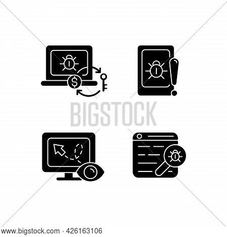 Internet Censorship Black Glyph Icons Set On White Space. Ransomware. Cell Phone Bugging. Web Bug. D