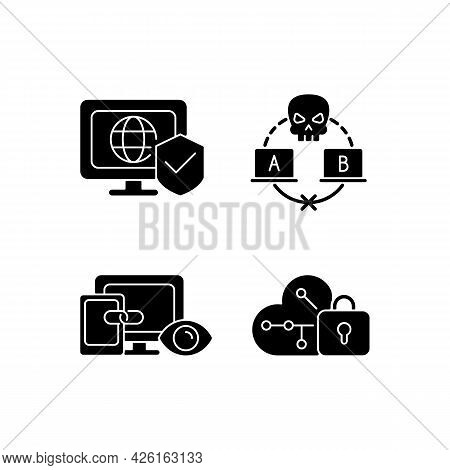 Internet Privacy Black Glyph Icons Set On White Space. Network Security. Sniffing Attack. Cross-devi