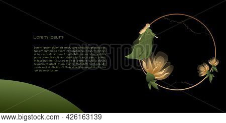 Vector  Template, Banner Mystic And Elf Theme, Elf Girl Or Fairy And Gold Flowers, Copy Space. Black