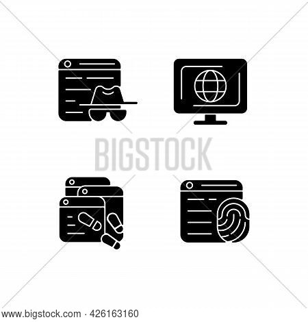 Online Censorship Black Glyph Icons Set On White Space. Private Browsing. Digital Trail. Browser Fin