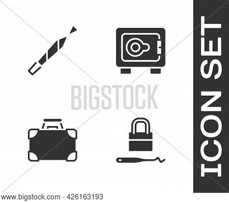 Set Lock Picks For Lock Picking, Marijuana Joint, Briefcase And Money And Safe Icon. Vector