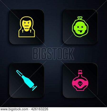 Set Poison In Bottle, Thief Mask, Bullet And Murder. Black Square Button. Vector