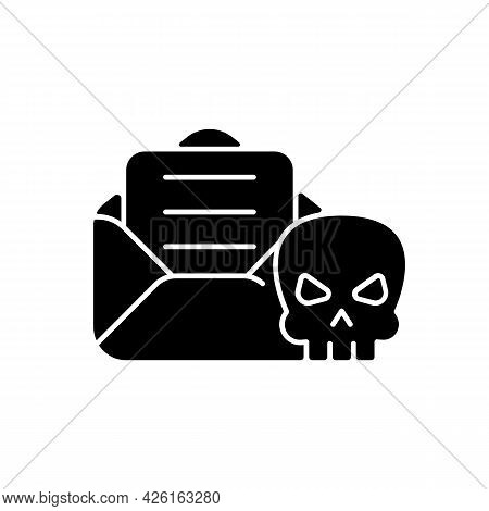 Email Phishing Black Glyph Icon. Online Scam. Cyber Attack By Sending Malicious Email. Gaining Info