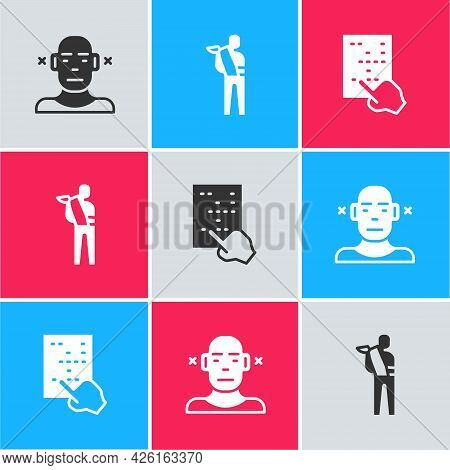Set Deaf, Human Broken Arm And Braille Icon. Vector
