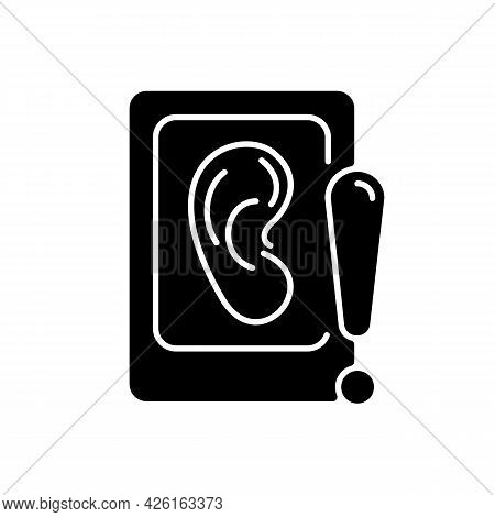 Eavesdropping On Mobile Devices Black Glyph Icon. Spying With Smartphone Microphone. Provide Hyper-t