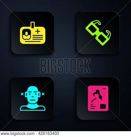 Set X-ray Shots, Identification Badge, Deaf And Eyeglasses. Black Square Button. Vector