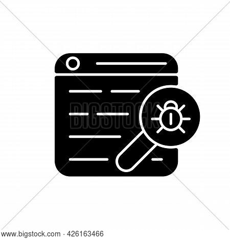 Web Bug Black Glyph Icon. Web Beacon. Gathering, Tracking Webpage Information. Statistics Collection
