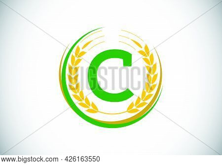 Initial Letter C Sign Symbol With Wheat Ears Wreath. Organic Wheat Farming Logo Design Concept. Agri