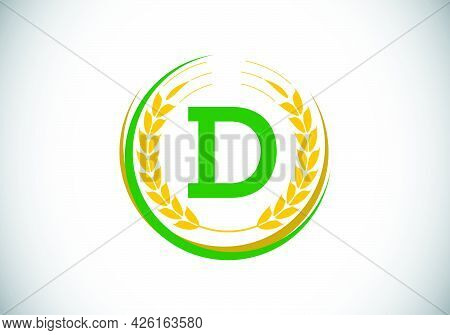 Initial Letter D Sign Symbol With Wheat Ears Wreath. Organic Wheat Farming Logo Design Concept. Agri