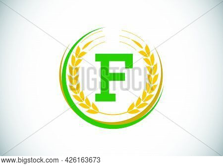 Initial Letter F Sign Symbol With Wheat Ears Wreath. Organic Wheat Farming Logo Design Concept. Agri