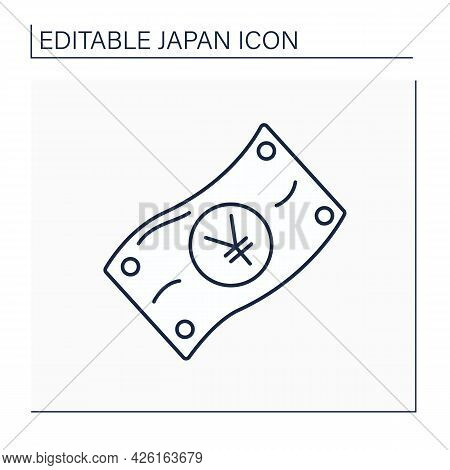 Japanese Yen Line Icon.official Currency. Economy. Japan National Currency. Japanese Culture Concept