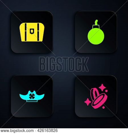 Set Pirate Coin, Antique Treasure Chest, Hat And Bomb Ready To Explode. Black Square Button. Vector