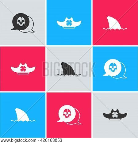 Set Skull, Pirate Hat And Shark Fin In Ocean Wave Icon. Vector