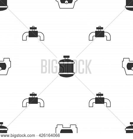 Set Gas Tank For Vehicle, Propane Gas And Metallic Pipes And Valve On Seamless Pattern. Vector