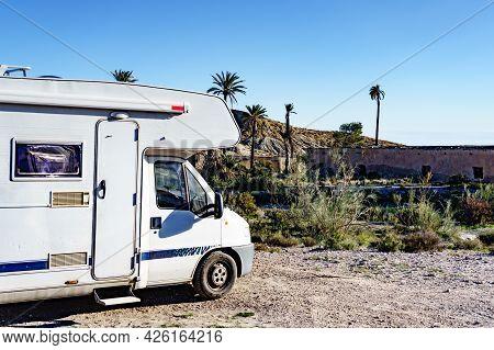 Caravan Camping At Movie Location El Chorrillo In Sierra Alhamilla, Spain. Tourist Attraction