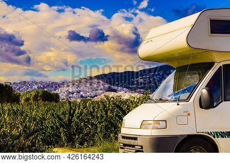 Caravan Visiting Salobrena Town On The Costa Tropical In Granada, Spain.