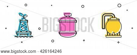 Set Oil Rig, Propane Gas Tank And Storage Icon. Vector