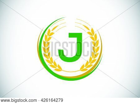 Initial Letter J Sign Symbol With Wheat Ears Wreath. Organic Wheat Farming Logo Design Concept. Agri