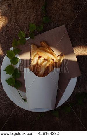 Top View Of French Fries. Fry Dip. The Concept Of Fast Food, Quick Bites And Restaurants For Caterin