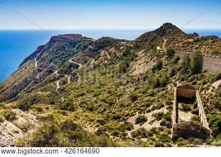 Tourist Destinations In Spain. Fortification Area Battery De Castillitos Near Cartagena, Cabo Tinoso