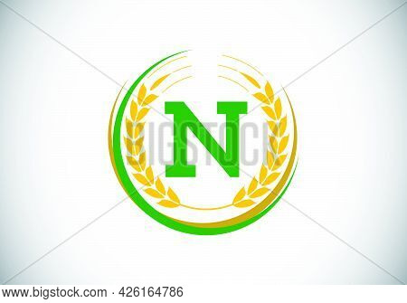 Initial Letter N Sign Symbol With Wheat Ears Wreath. Organic Wheat Farming Logo Design Concept. Agri