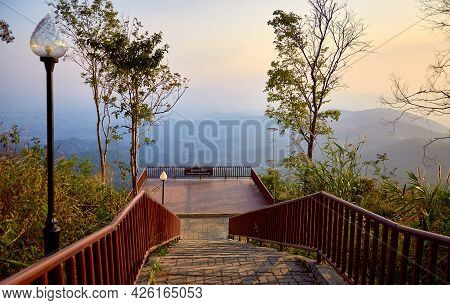Sunset In The Mountains Of Northern Thailand. Beautiful Viewpoint On Doi Tung Mountain. Chiang Rai P