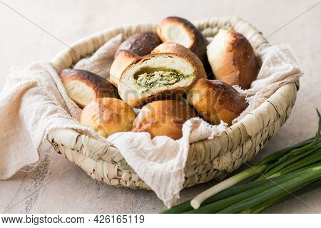 Russian Pastries (pirogi) Filled With Eggs And Green Onion. Russian Pastries (pirogi)