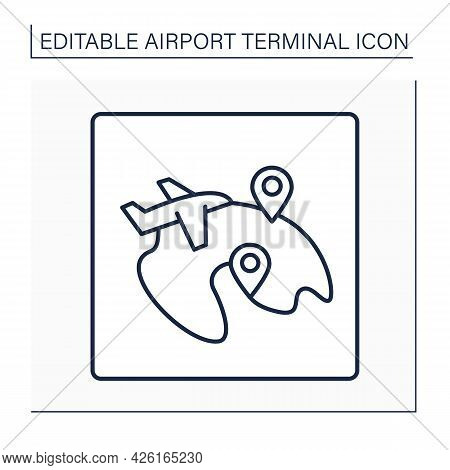 Domestic Flight Line Icon. Takes Place Entirely In One Country. Pointer.local Flights. Airport Termi