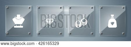 Set Bag With Gems, Earrings, Diamond And Necklace Mannequin. Square Glass Panels. Vector