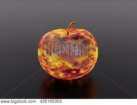 Hot Metal Apple, Forged From Iron, 3d Render