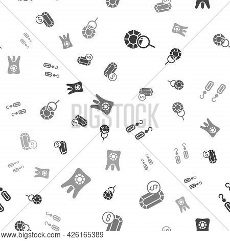 Set Gem Stone, Jewelry Online Shopping, Earrings And Tooth With Diamond On Seamless Pattern. Vector