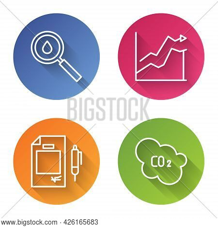 Set Line Oil Drop, Oil Price Increase, Contract Money And Pen And Co2 Emissions In Cloud. Color Circ