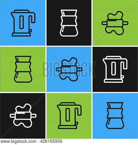 Set Line Electric Kettle, Rolling Pin On Dough And Coffee Turk Icon. Vector