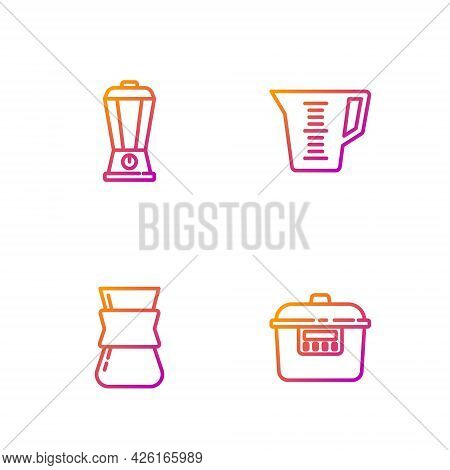 Set Line Slow Cooker, Coffee Turk, Blender And Measuring Cup. Gradient Color Icons. Vector