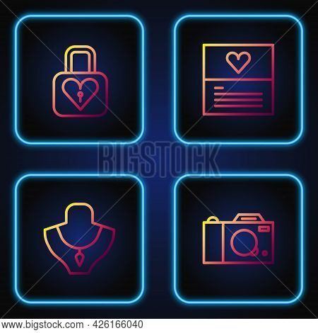 Set Line Photo Camera, Necklace On Mannequin, Lock And Heart And Greeting Card. Gradient Color Icons