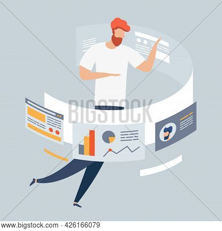Modern Flat Design Concept Of Marketing For Banner And Website, Landing Page Template. Strategy And