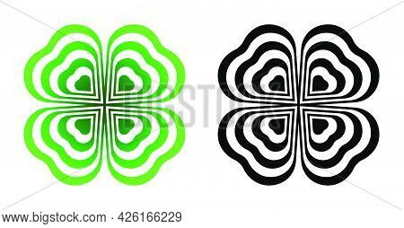 Abstract Four Leaf Clover With Heart Shape. Good Luck And Success Symbol. Talisman, Amulet Of Irish