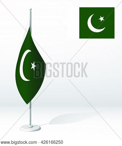 Islamic Republic Of Pakistan Flag On Flagpole For Registration Of Solemn Event, Meeting Foreign Gues