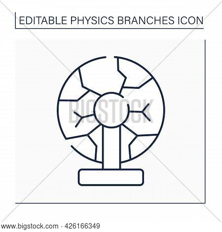 Plasma Physics Line Icon. Ionized, Electrically Quasi-neutral Matter State. Strong Electromagnetic F