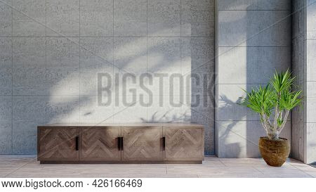 3d interior render mock with concrete walls and floor lamp
