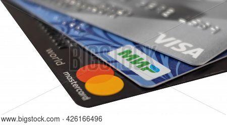 Krasnodar, Krasnodar Territory, Russia, Jule 5, 2021: A Close-up Of Three Bank Cards With Mastercard
