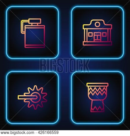Set Line Drum, Spur, Canteen Water Bottle And Wild West Saloon. Gradient Color Icons. Vector