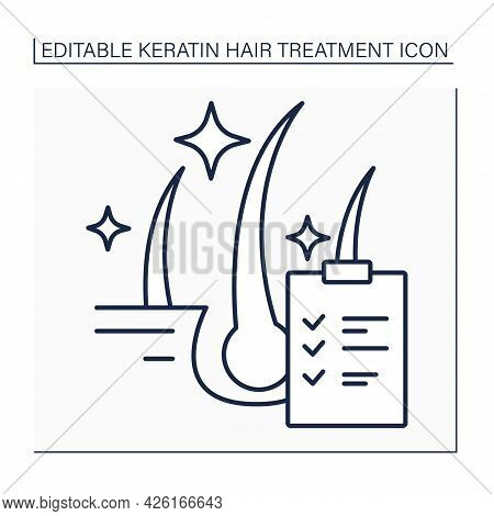 Keratin Results Line Icon. Hair Treatment Results. Healthy, Shiny And Well-groomed Hair. Keratin Tre