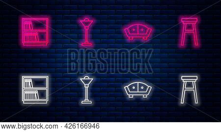 Set Line Floor Lamp, Sofa, Library Bookshelf And Chair. Glowing Neon Icon On Brick Wall. Vector