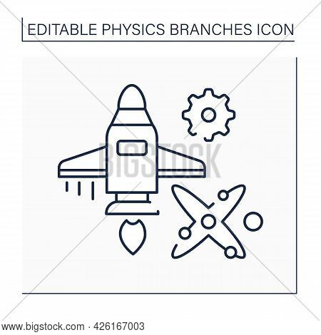 Engineering Line Icon. Applied Physics, Electrical And Mechanical Engineering. Astrology. Rocket Des