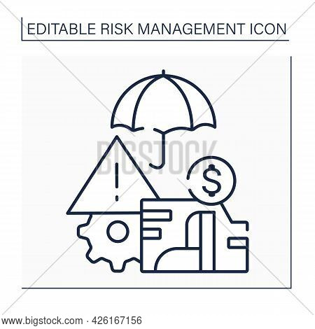 Enterprise Risk Management Line Icon. Plan-based Business Strategy. Identify, Assess, And Prepare Fo