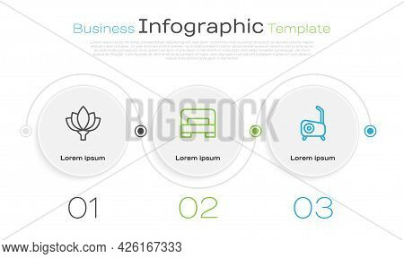 Set Line Lotus Flower, Big Bed And Stationary Bicycle. Business Infographic Template. Vector