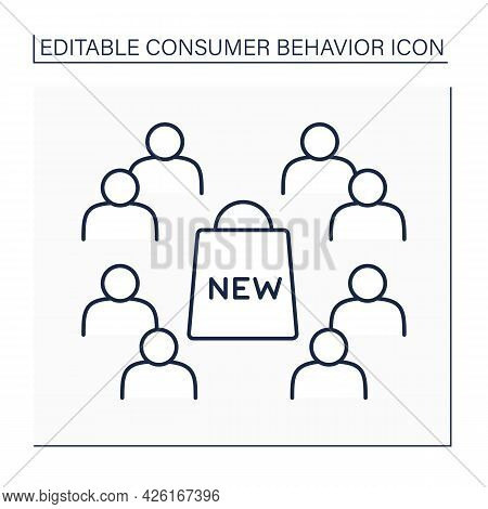 Late Majority Line Icon. Conservative Groups In Community Slower Adopt New Product.consumer Behavior